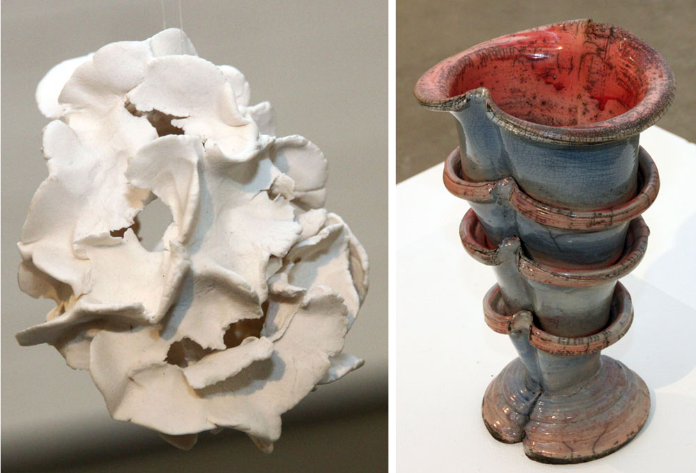 © Cordula Bielenstein Morich: MOLN, porslinslera, 7x7x7 cm och SUMPTRATT, rakubränd keramik, 40x25x20 cm