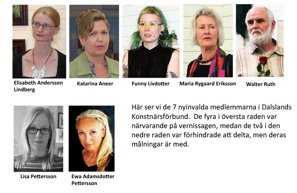 De 7 nyinvalda konstnärsmedlemmarna