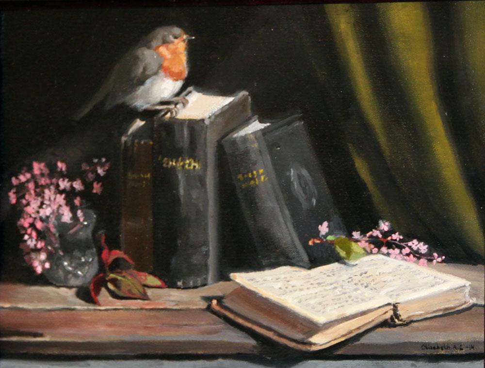 © Elisabeth Andersson Lindberg: ON MY BOOKSHELF, olja, 25x33 cm