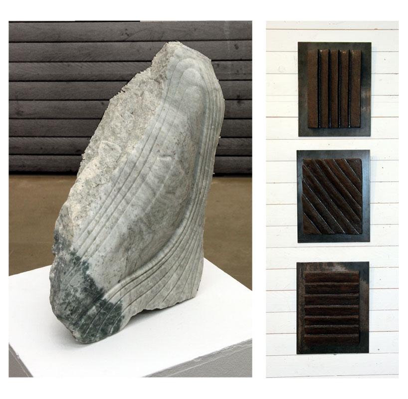 © Elsie Larsson: ANSIKTET I STENEN, marmor. 50x33x20 och FAROR, trityk, stengods och järn, 3 st, 37x31 cm