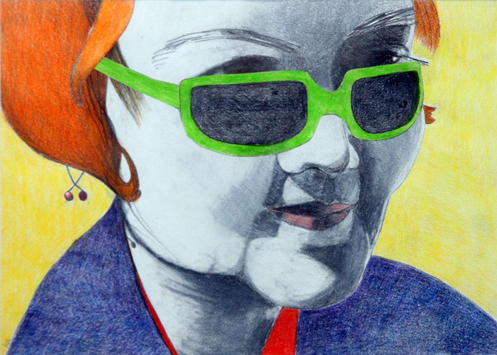 © Katarina Aneer: TÖS MED GRÖNa GLAS, blyerts och färgpenna, 20x28 cm