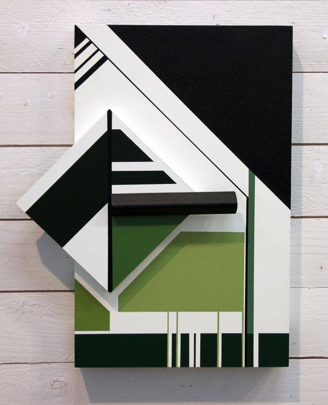 © Lilian Retamales / BUS 2015: SKOGENS GRÖNA TÅRAR I, akryl på trärelief, 40x32x4 cm