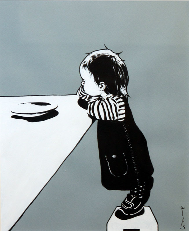 © Lisa Pettersson: VÄNTAN, akryl på papper, 27x22cm