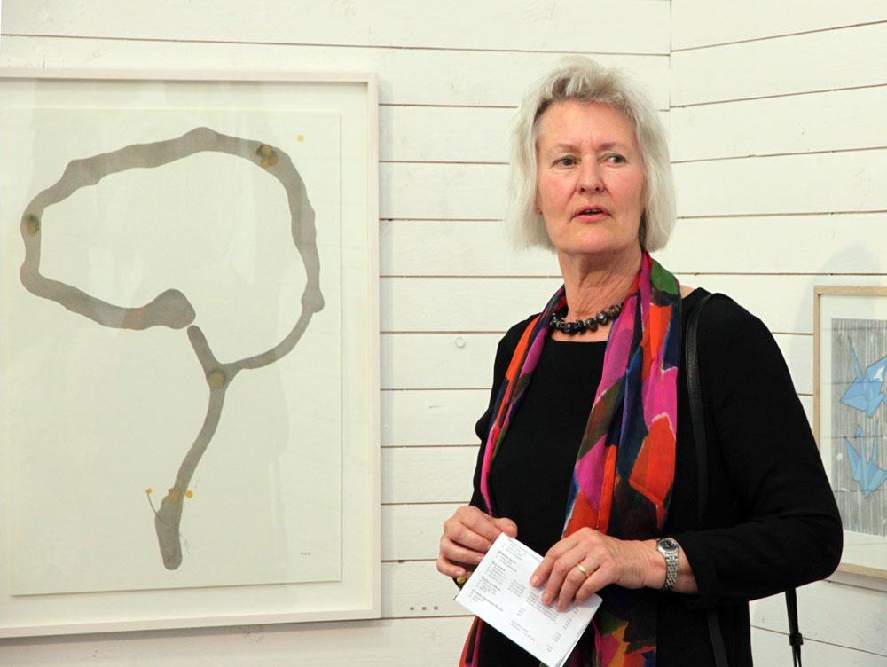 Nya medlemmen Maria Rygaard Eriksson berättade om sina tuschteckningar