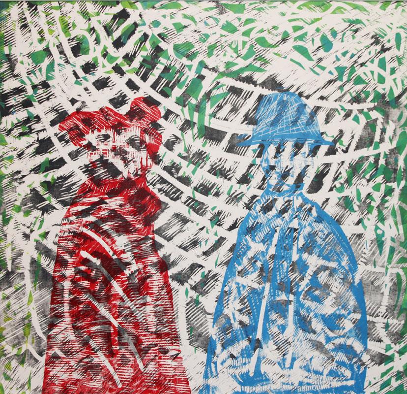 © Walter Ruth: VARIATIONER I TIDENS VÄV II, träsnitt, 116x120 cm